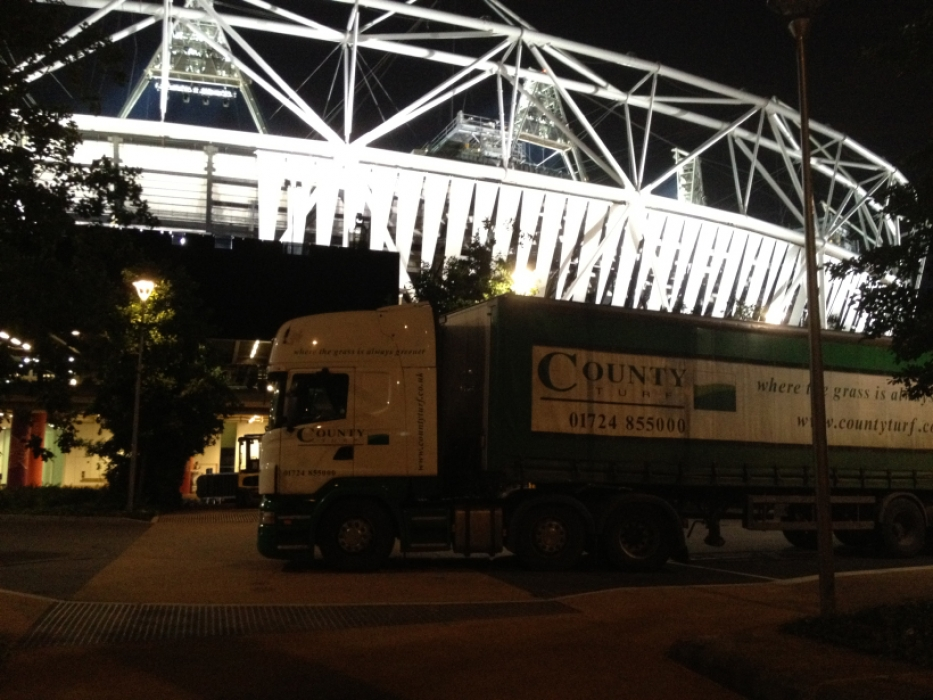 County Turf lorry outside the London 2012 Olympic Stadium
