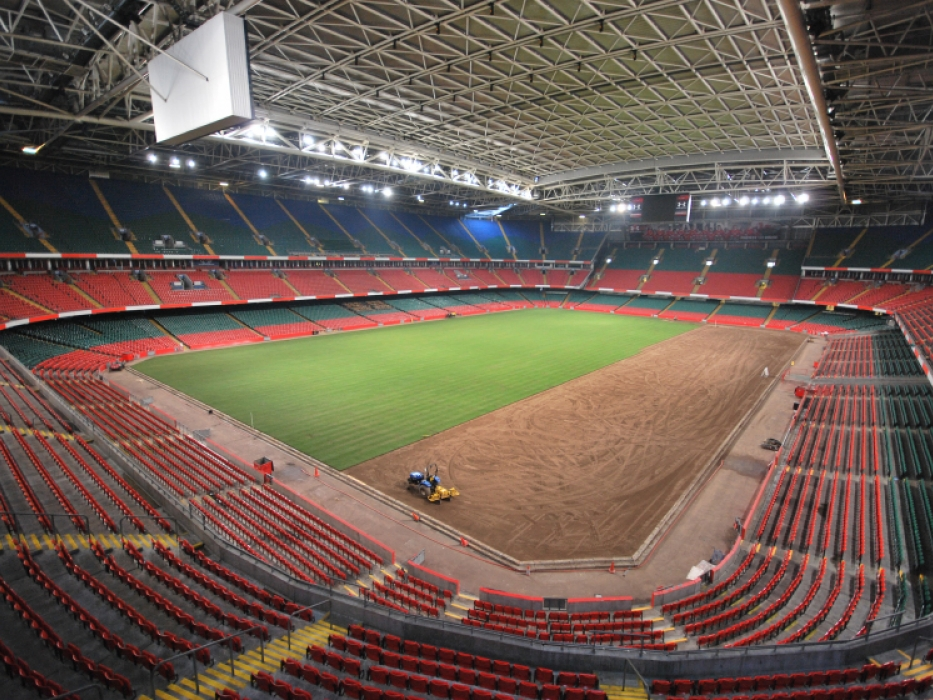 Laying turf at the Millennium Stadium, Cardiff