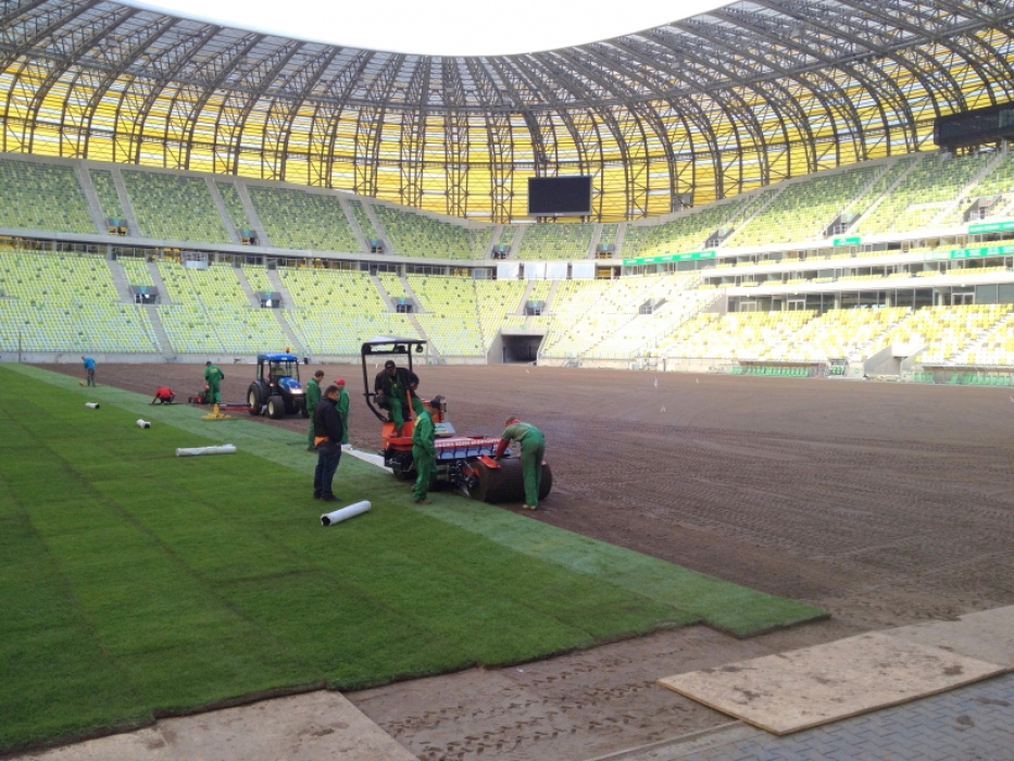 Laying turf at the PGE Arena, Gdansk, Poland