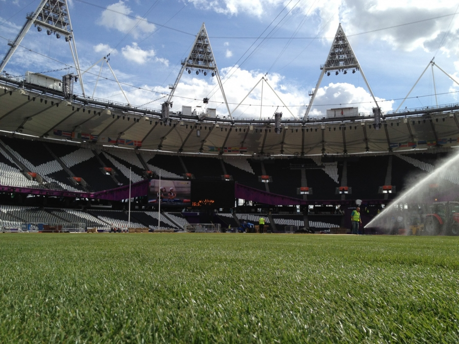 Watering the newly laid turf at the London Olympic Stadium