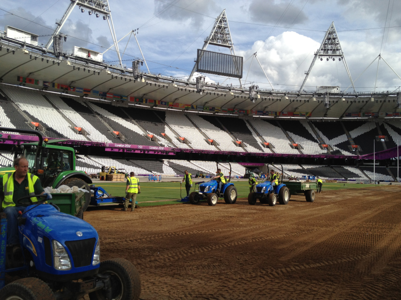Preparing for turf laying at the London 2012 Olympics